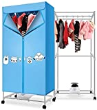 PFTHDE Electric Clothes Dryer Double Layer Folding 1000W Blue Drying Rack Quick Dryer Baby Clothes Dryer Multifunction Drying Wardrobe with Heater Intelligent Constant Temperature Timer