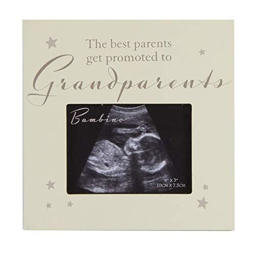 """Cornice con foto di ecografia con la scritta in lingua inglese: """"The best parents get promoted to grandparents"""", regalo ideale per i neo-nonni"""