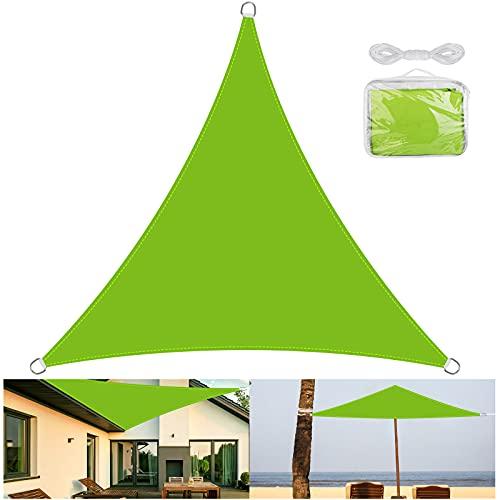OVAREO-toldo Vela de Sombra Triangular 3 x 3m,toldos Vela exterio ,Protección Rayos UV Impermeable,Vela de toldo Resistente a la Intemperie para Patio Exteriores Jardín, (Verde)