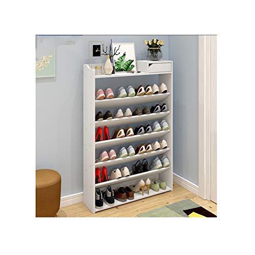 Zapatero de 7 niveles con cajón de madera para zapatos, organizador de almacenamiento de zapatos para entrada, pasillo (color: blanco, tamaño: 75 cm (7 niveles)