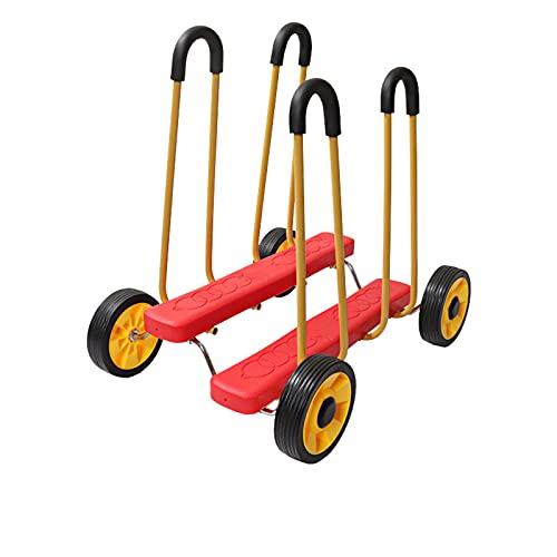 LDIW Coche De Entrenamiento De Integración Sensorial Bicicleta Niños Treadwheel Cuatro Ruedas Coche De Pedal De Entrenamiento Fitness Toy Caminante Infantil con Ruedas,Rojo