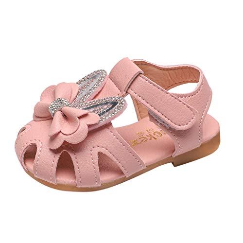 Zhen+ Baby Sandalen Mädchen 0-4 Jahre Neugeborenes Baby Lauflernschuhe Sommer Leder Geschlossene Strand Sandalen Hausschuhen Anti-Rutsch Weiche Sohle Schuhe mit Klettverschluss - Kauf 2 pcs 10% sparen