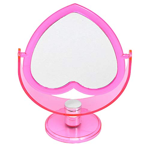 SOLUSTRE Kosmetik Tischspiegel Herz Rosa Zweiseitiger Spiegel Acryl Desktop Stehender Schwenkbar Schminkspiegel Schminktisch Frauen Damen Mädchen Make Up Werkzeug