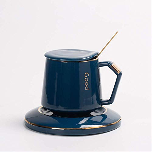 N YU QI Taza De Agua Ligera Taza De Café De Alta Gama Taza De Cerámica con Tapa 401-500ml Zar Cup Royal Blue + Plato de Porcelana + Cuchara de Cubierta