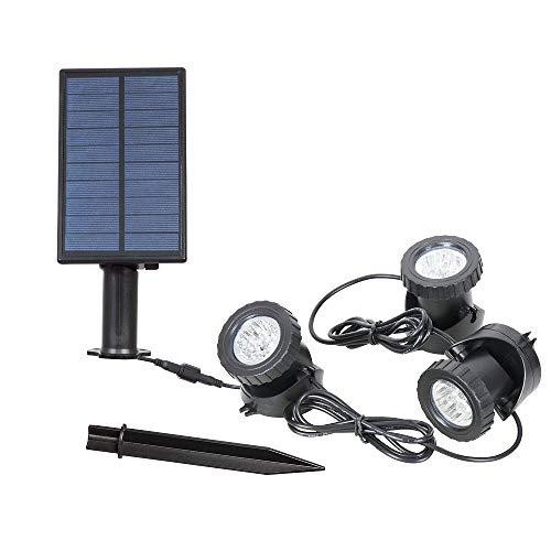 Cikuso Solar Alimentato Super Luminoso 3 Lampade Sommergibili 18 Leds Luce Del Proiettore Giardino Stagno Stagno Giardino Paesaggio Faro Subacqueo Illuminazione Esterna