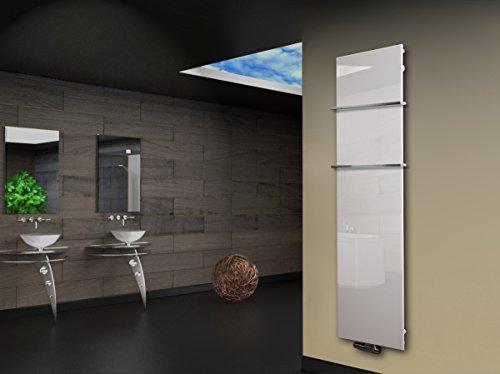 Badheizkörper Design Montevideo 3 (Glas-Front) HxB: 180 x 47 cm 1118 Watt weiß + 2 Handtuchhalter 15x15mm (Marke: Szagato) Made in Germany/Bad und Wohnraum-Heizkörper mit Echtglas (Mittelanschluss)