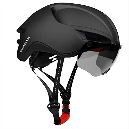 iWUNTONG Casco de Bicicleta,Casco Certificado CE con Visera Solar Extraíble,Casco de bicicleta con luz USB recargable,Casco de Bicicleta para Adultos Casco de Bicicleta Montaña Hombres Mujeres 60-64cm