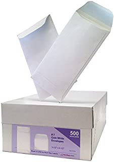 #7 Coin White Envelope for Small Parts, Cash, Jewelry Etc, 500 Per Box (500 Reg. Gum)