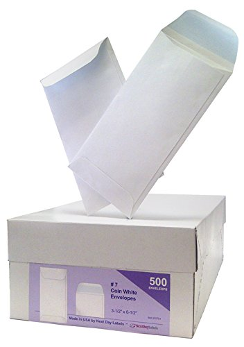 #7 Coin White Envelope for Small Parts, Cash, Jewelry Etc, 500 Per Box (500 Reg. Gum)