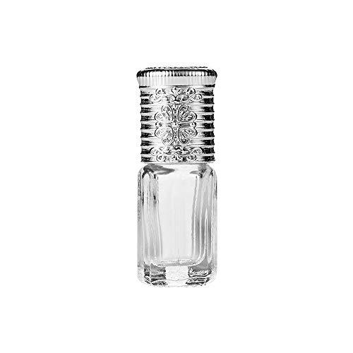 YA-Uzeun Mini-Leere Glasflasche für ätherisches Öl, Parfüm-Roller, 3 ml, nachfüllbar Silber