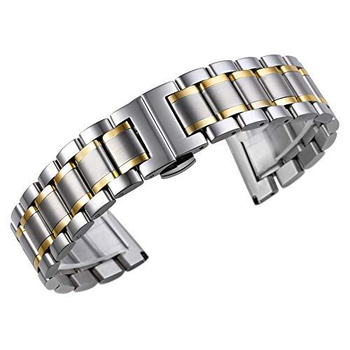 AUTULET 16mm delle donne 316L solido argento a due toni e cinturini per...