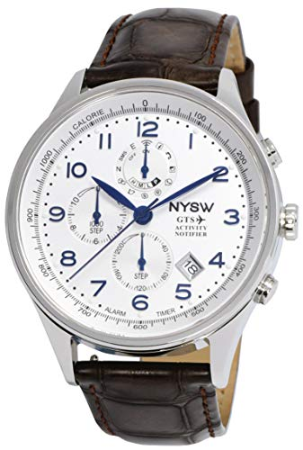 NYSW Hybrid-Smartwatch – mechanischer Tag – Saphirglas – atemberaubende Sekundenzeiger & mehr (NY-SH-01-W) (Silber/Blau)