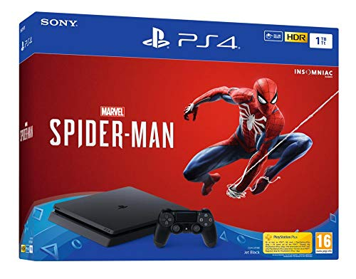 Sony PlayStation 4 Slim 1 To + Marvel's Spider-Man Édition Standard, Avec 1 manette sans fil DUALSHOCK 4 V2, Châssis F, Noir (Jet Black)