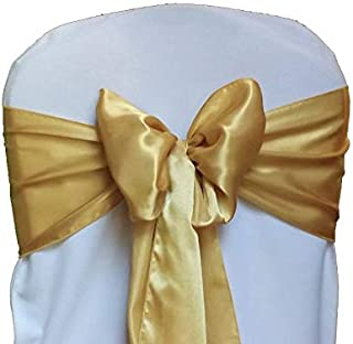 mds Pack of 50 Satin Chair Sashes Bow sash for Wedding and Events Supplies Party Decoration Chair Cover sash -Gold