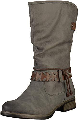 Rieker Damen Klassische Stiefel 98861,Frauen Boots,Schlüpf-Stiefel,Slip-On-Boot,Blockabsatz 3.3cm,Stahl/Stahl/testadimoro, EU 39