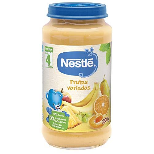 Nestlé Purés Tarrito de puré de fruta, variedad Frutas Variadas, para bebés a partir de 4 meses - Tarrito de 250 gr