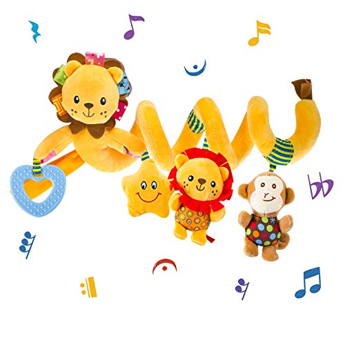VX-star Baby Pram Crib Ornament Hangings Yellow Cute Little Lion Shape Design Spiral Plush Toys Stroller and Travel Activity Toy