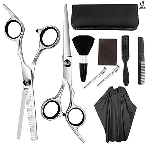 Tijeras de peluquería tijeras de pelo 9 piezas profesional de peluquería Kit de tijeras de corte de pelo cepillo de pelo clip de pelo peine de aseo para peluquería