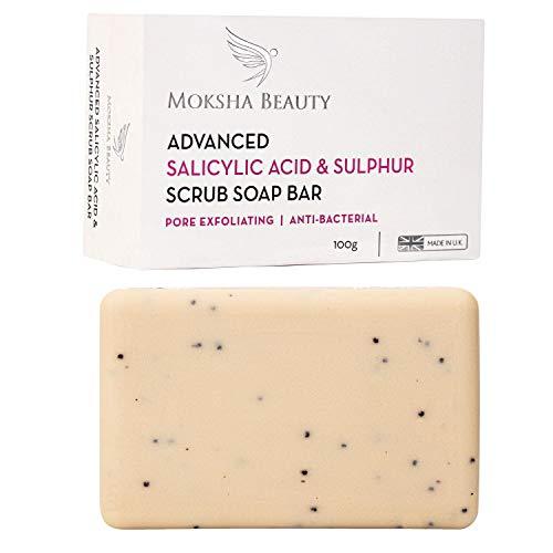 Schwefelseife Stückseife mit Salicylsäure - [Made in U.K] Verbessertes Peeling mit Salicylsäure & Schwefel Behandlung Gesichtsseife | Ohne Parabene und tierversuchsfrei – 100g