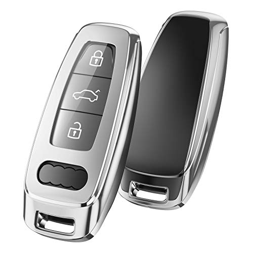 OATSBASF Schlüsselhülle Geeignet für Audi,Autoschlüssel Hülle für A6L A6 A7 A8 Q7 Q8 E-Tron 2019 2020 Silicone TPU Schutzhülle (Silber)