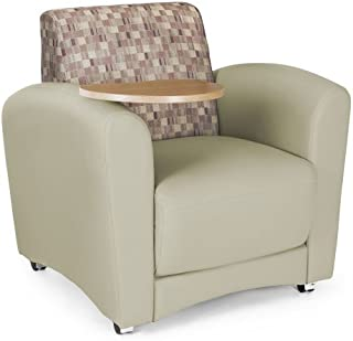 OFM InterPlay Series Upholstered Guest / Reception Chair, Plum/Taupe, Bronze Tablet