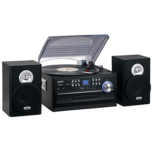 Jensen 3-Speed Turntable Music System Limited Edition JTA475W LCD Display with Front Loading CD Player , AM/FM Stereo Radio, Cassette Player ,Aux input, Headphone Jack & Wooden Speakers