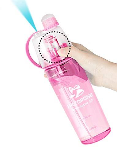 HKTOPONE Niño Rociar Botella de Rosa Deporte en Aerosol para Beber Botella de Agua Ciclismo Sin BPA 600 ml para Gimnasio, Ciclismo Correr Escalada Senderismo y montañismo (Rosa)
