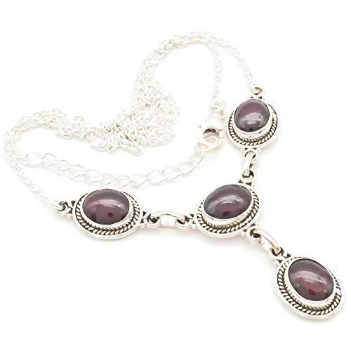 Granat Collier 925 Silber Sterlingsilber Kette Halskette rot (MCO 02-02)