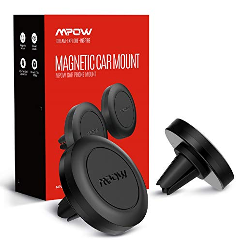 Mpow Soporte Móvil Coche para Magnética Rejillas del Aire, (2 Piezas) Soporte Smartphone Coche Iman Universal para iPhone 11 Pro MAX/XS MAX/XR / 8 Plus, Galaxy S6 S10 Huawei P30 P20 Mate10 GPS