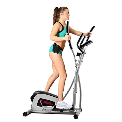 OneTwoFit Home Elliptical Cross Trainer, 8-Level Magnetic Resistance, 13-inch Stride Length, 12-lbs Two Way Flywheel, Monitor with Heart Rate Sensor and Tablet Holder OT111