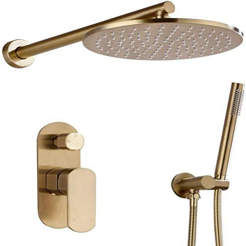 Juego de grifos de ducha Juego de ducha de oro cepillado Rianfall Baño de latón macizo Cabeza de ducha oculta 8-12 pulgadas Cabeza de ducha Ducha Grifo Montado de la pared Brazo de ducha Mezclador de