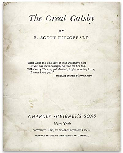 The Great Gatsby Title Page - 11x14 Unframed Typography Book Page Print -Great Gift and Decor for F. Scott Fitzgerald and Literary Art Fans Under $15