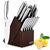 HOBO 2019 Kitchen 14-Piece German Professional Chef Knife Set with Wooden Block, Premium Anti-Rust Cutlery Scissors and Sharpener, Silver