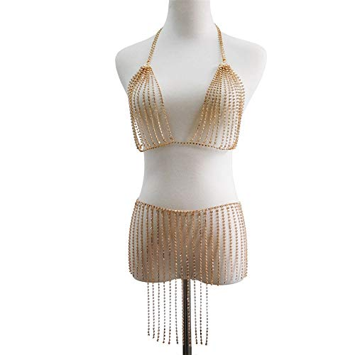 Wguili Brust Kette Sommer Zubehör Beach Party Pool Nachtclub Körper Kette Damen Sexy Bikini Schmuck Damen Bademode Jacke BH Körperkette (Farbe : Gold, Größe : Free Size)