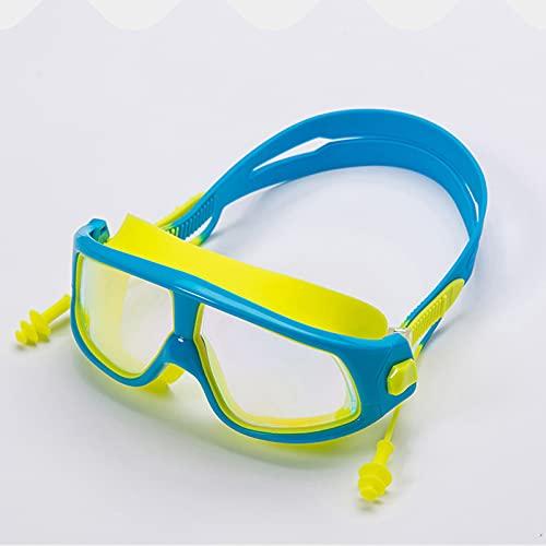 Gafas de natación Infantil con Marco Grande Anti-Niebla y Gafas de baño Transparentes Impermeables con Tapones para los oídos