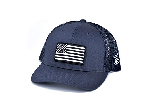 Branded Bills 'Vintage Rogue' PVC Patch Hat Curved Trucker - One Size Fits All (Navy/Navy)