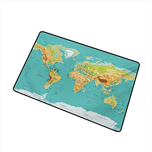 BeckyWCarr Map Inlet Outdoor Door mat Map of The World Geography Continents and Countries Physical Cartography Image Catch dust Snow and mud W23.6 x L35.4 Inch,Sea Green Apricot