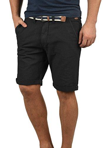 Indicode Mews Herren Chino Shorts Bermuda Kurze Hose mit Gürtel Regular Fit, Größe:M, Farbe:Black (999)