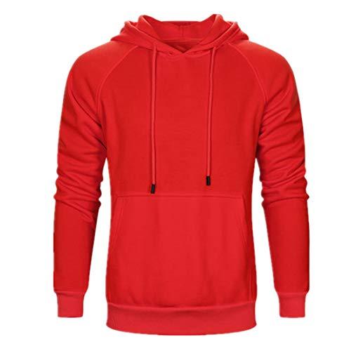 ZHUQI Hoodie Herren Sweatshirt Herren Bequeme Mode Patchwork Schlank Herren Hoodie Herbst Neues Känguru-Tasche Reine Baumwolle Langarm Sport Trend Leichtes Weich Herren Streetwear [Red] XXL
