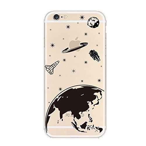 Keyihan iPhone 6 / 6S Cover Custodia Interessante Divertente Modello Leggero Sottile Morbido Trasparente Chiaro TPU Silicone Protettiva Caso per Apple iPhone 6/6S (Pianeta Terra Stella)