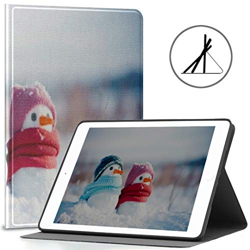 Ipad 9.7-inch Cover (Soft Case) Two Little Snowmen Girl Boy Knitted Ipad Air 2/9.7-inch Cover with Automatic Wake/Sleep Function, Suitable for