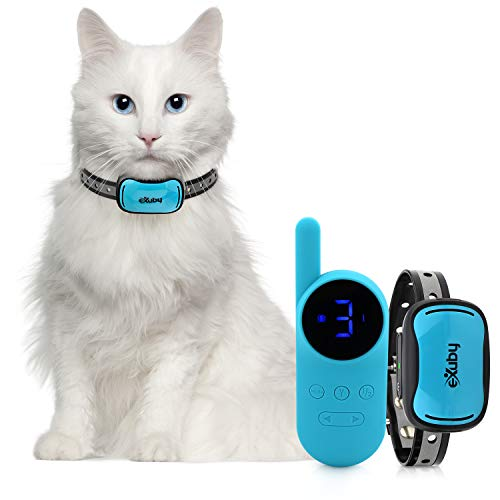 eXuby - Small Cat Shock Collar w/Remote - Designed for Training Cats - Prevents Unwanted Meowing, Scratching & Roaming - Sound, Vibration & Shock Modes - 9 Intensity Levels - Waterproof - Teal/Pink