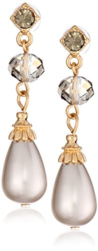 1928 Jewelry 'Pearl Essentials' Gold-Tone Grey with Smoky Quartz Diamond Drop Earrings