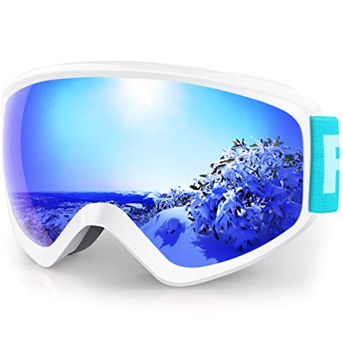findway Kids Ski Goggles, Kids Snow Snowboard Goggles for Boys Girls Youth (Pink Blue Rose) Age 5 6 7 8 9 10 11 12 13 14 15 16,Over Glasses OTG Design,Anti Fog,100% UV Protection,Helmet Compatible