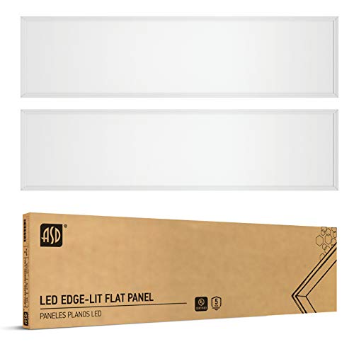ASD 1x4 LED Panel Light 27W = 70W Equivalent - 4000K (Bright White) Dimmable - 3051 Lm Edge Lit LED Panel - 100-277V Drop Ceiling Indoor Commercial Fixture - cULus Listed DLC Certified, 2 Pack