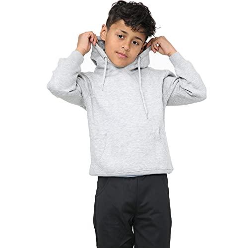 Kids Girls Boys Hoodie Sweatshirt Tops Casual Plain Pullover Fleece Hooded Jumper Unisex Sports and School Wear Age 7 8 9 10 11 12 13 Years Grey 5years