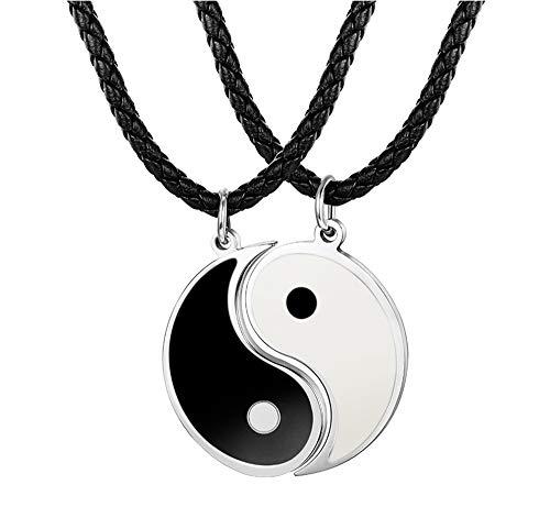 BESTEEL 3MM Leder Tai Chi Anhänger Halskette für Herren Damen Freundschaft Yin Yang Paar Kette 56+5CM