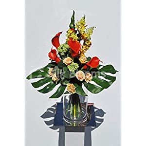 Silk Blooms Ltd Artificial Bright Red Calla Lily and Peach Rose Flower Display w/Yellow Orchids and Green Snowball