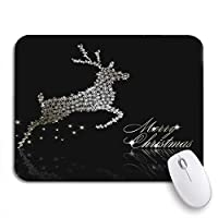 ROSECNY 可愛いマウスパッド シルバークリスマスメリークリスマスブラックエレガントな輝きホワイトライトノンスリップラバーバッキングコンピュータマウスパッド用ノートブックマウスマット