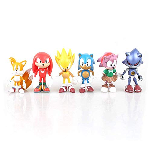 6 Pcs Sonic The Hedgehog Action Figures, Cake Toppers, 2.4', Children Mini Toys Cupcake Toppers for Birthday Party Supplies